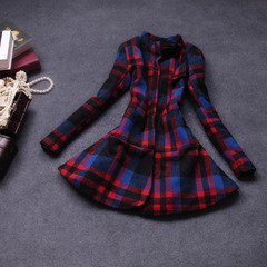 Autumn/winter 2014 the new Europe and the retro ladies Plaid slim wool long sleeve long dress coat jacket