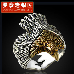 925 Silver jewelry man ring Eagle domineering opening Eagle ring-style Thai silver wave ring