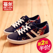 Becky's autumn new style canvas shoes men Korean version of lacing shoes ethnic print men's shoes and leisure shoes e-mail