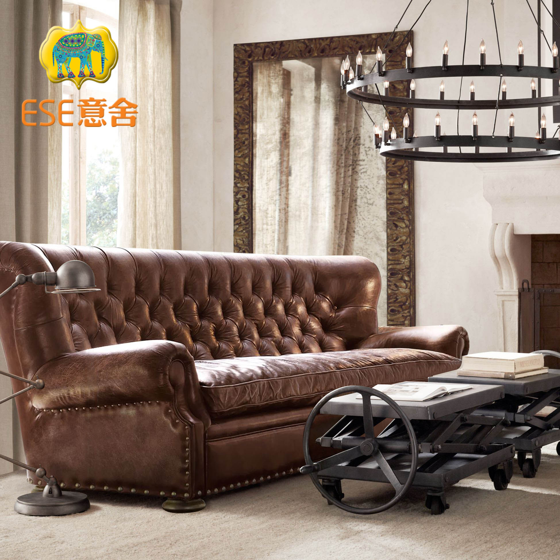 意舍美式复古皮沙发真皮三人位沙发油蜡皮沙发客厅组合沙发别墅用
