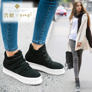 New Korean version for fall/winter increase women high shoes nubuck leather shoes Velcro platform shoes and leisure shoes platform