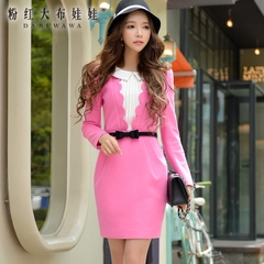 Long sleeve dress pink spring 2015 new women's Boucle fabric petals decorate the doll Pack hip skirt
