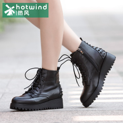 Hot air in winter and riveting Martin with flat boots women short boots short flashes tube strap platform women boots H81W5417