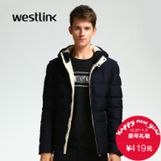 Westlink/West New 2015 winter fashion color high collar warm hooded cropped cotton men's coat