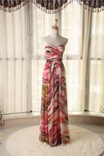 印花沙滩裙礼服ar4式抹胸派os度假雪纺 抓摺波西米亚红绿色1