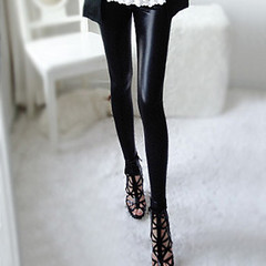 Wearing leggings pink dolls 2015 spring feet pants women's black leather slim fit slim leather pants