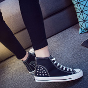 2016 spring Hi-rivet with flat women's shoes trend of the Korean female students ' shoe laces shoes