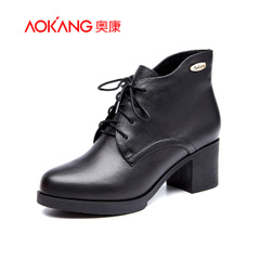 Aokang shoes before 2015 winter leisure laced boots warm leather rough with short tube with round head short boots