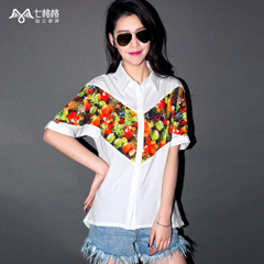 Seven space space OTHERMIX2015 new spring and summer fruit printing medium, white chiffon shirt women