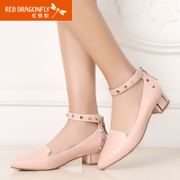 Red Dragonfly genuine leather women's shoes new 2015 spring fashion Korean rivet zipper cow leather shoes