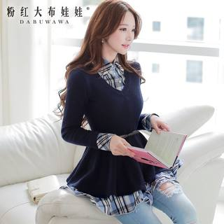 Pullover pink doll fall 2015 new blouse women's slim v neck knitted long jumper