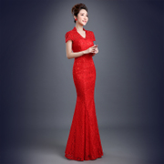 2015 new spring fashion one shoulder bridal toast clothing long banquet evening dress wedding dress red summer