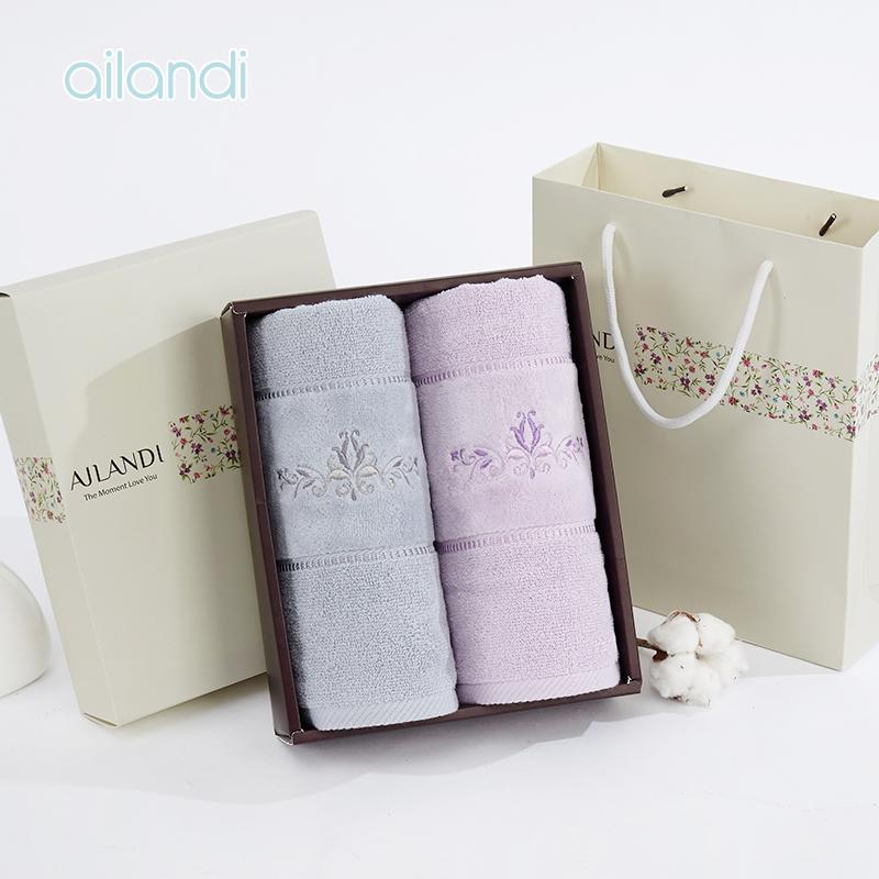 AILANDI纯棉古典花卉刺绣面巾礼盒全棉情侣毛巾2条装团购可定制