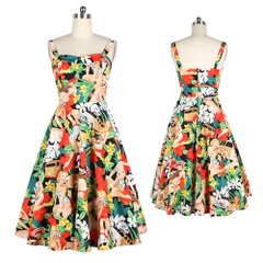 Europe and old Beach girl print on black suspenders long high waist slimming dresses