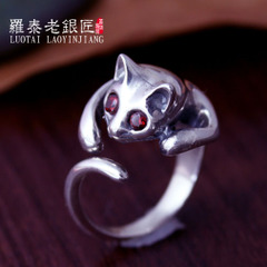 925 Silver ladies open adjustable rings handmade cat rings Korean fashion ring finger jewelry