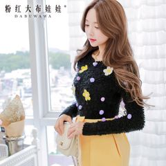 Cropped sweater pink doll spring 2015 new sweater flowers ladies ' jacket pullover