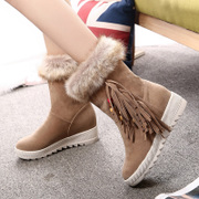 2015 new winter snow boots woman with added cashmere in the Middle cylinder boots flat thick round-headed student shoes