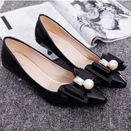 2017 spring new low-heeled shoes female pearl bow high-heeled shoes with small with professional women shoes