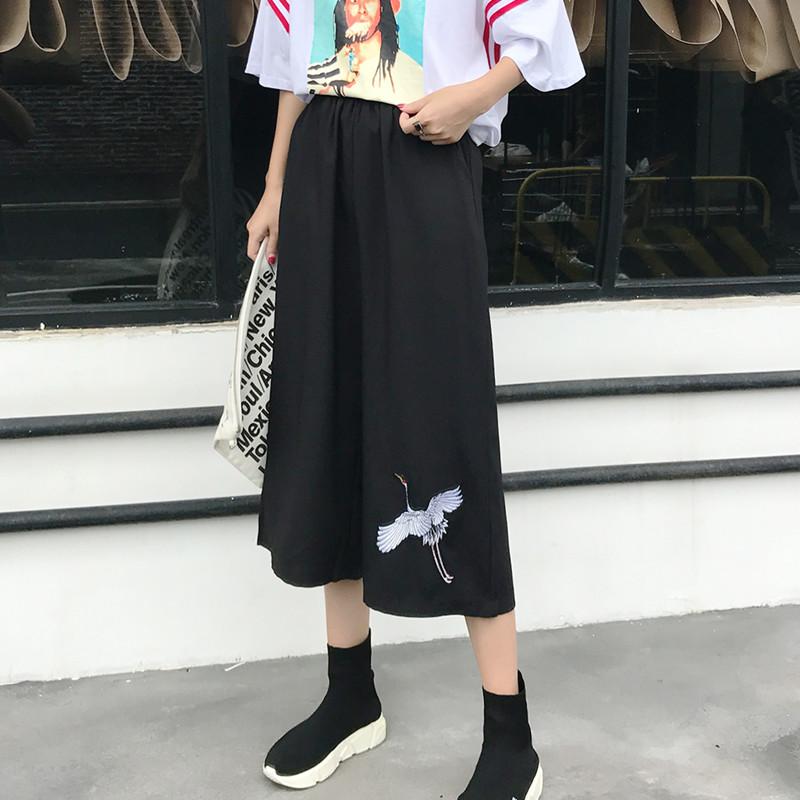 韩版ulzzang高腰刺绣黑色七分裤女2017夏季新款松紧腰学生阔腿裤