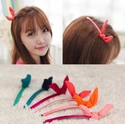 Know Richie new super cute chiffon temperament little rabbit ears hair clip clip Clip kaziliuhai clip hair accessories