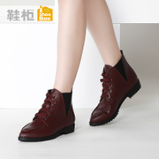 Shoebox new women's boots shoe 2015 winter tide point tie casual low heels boots 1115505042