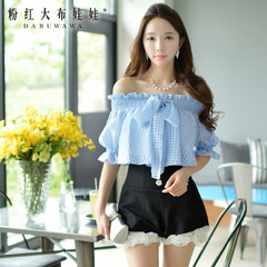 T-girl summer pink doll 2015 Lady Korean bow one shoulder loose women t shirt