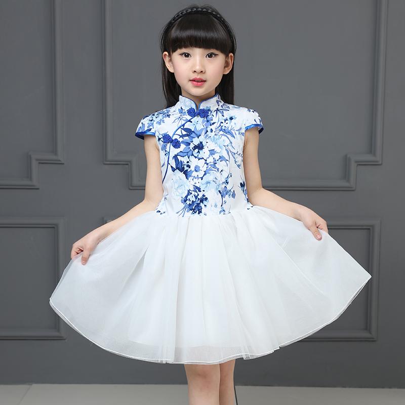 女童短袖连衣裙夏装新款小女孩演出服儿童公主裙旗袍纱裙子夏季