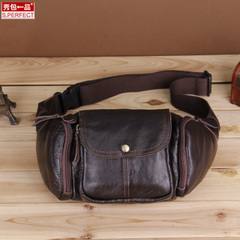 Show covered a Korean version of Forefront cowhide genuine leather Fanny Pack slung function and leisure male chest Pack
