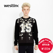 Westlink/West fall 2015 new urban tide letter printing t toe black mens sweater