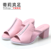 2015 summer products with slippers leather mesh coarse with Rhinestone platform women's sandals