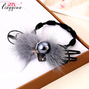 Smart mink fur hair band Korea rhinestone hair accessories hair rubber bands made of plush rope ring-mail