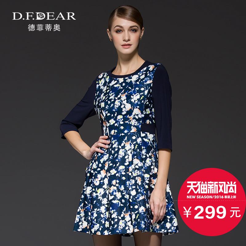 品牌女装印花连衣裙修身百搭时尚打底连衣裙