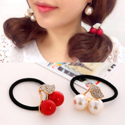 Know Richie fresh and cute rhinestone hair accessories little Korean cherry rope string band
