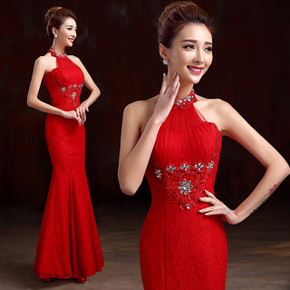 2015 new stylish red-tail hanging on my toast the bride spring/summer clothing slim lace long dress evening dress