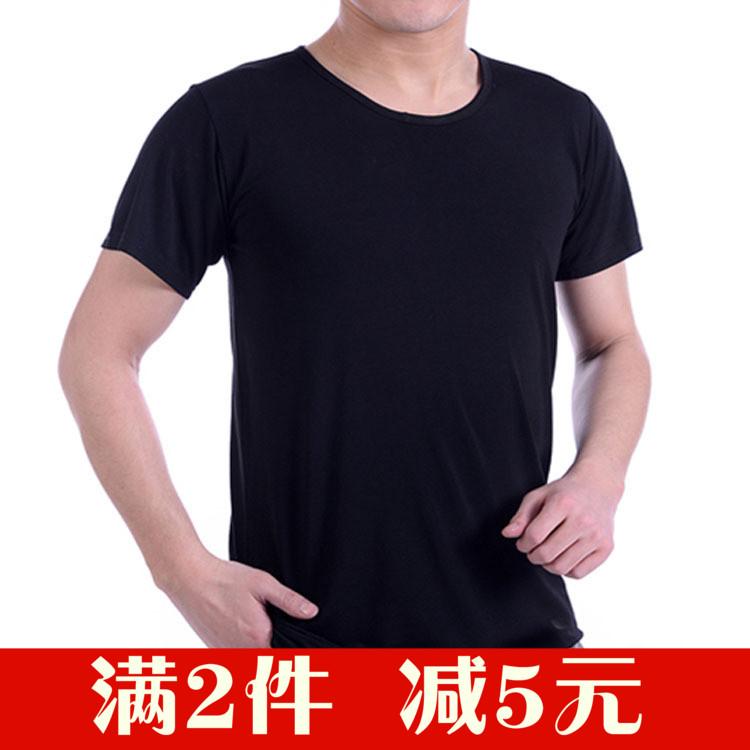老头衫纯棉圆领短袖t恤男青年修身中老年半袖大码宽松打底衫背心