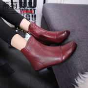 Tilly cool foot retro MOM boots winter women's leather short boots with side zipper head Martin boots down in England