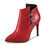 Strange love Martin boots leather women boots pointed stilettos for fall/winter boots women's shoes fashion sexy Red short tube