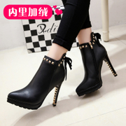 2015 winter wave of new stiletto high heel women boots UK and velvet boots cotton boots pointed toes sexy nude shoes