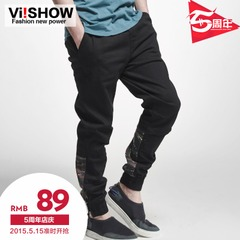 Spring summer viishow2015 young men casual pants men's slim fit washed straight leg in Europe and foot long pants