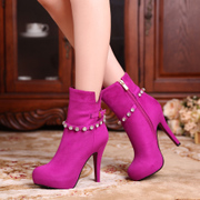 Strange love of spring and autumn shoes with thick-soled platform boots 40 super high heel ankle boots rhinestone Martin plus size pink red blue