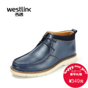 Westlink/West New Korean version 2015 winter leather stitching head-tie ankle boots men's boots