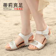 2015 summer styles button of Korean leisure leather flat Sandals Women's rhinestone student flat heel sandal comfort