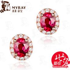 米莱珠宝 1.1克拉天然缅甸红宝石耳钉女 18k金镶钻彩色宝石耳环