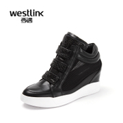 Westlink/West spring 2016 new tide leather mesh mosaic drilling increased in women's skate shoes