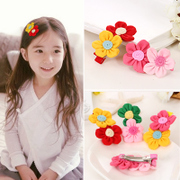 Know Richie hit Korean color double flower child hair clip tooth clip baby side clip Duckbill clip hair hair accessories