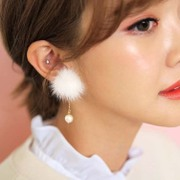 Cool na Korean fur balls before and after Pearl double double-sided plush women's pendants to earrings-Stud Earrings 2042