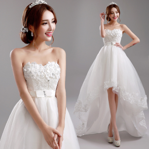 Princess Bride Flowers Tube Short Front Long Wedding Dress 8271