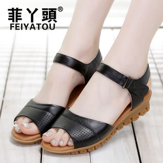 Filipino MOM and girl summer shoes Sandals leather flat with older soft bottom shoes middle-aged non-slip plus size women's shoes