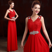 2015 fashion new style bride wedding toast bridesmaid dress evening dress long shoulder lace red spring/summer dress