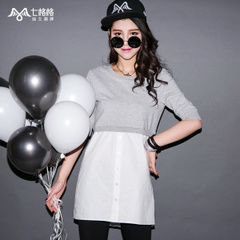 Seven rattles OTHERMIX2015 new spring and summer off two pieces spliced Turtleneck t Wei Yinv